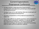 current expectations preproposal conference