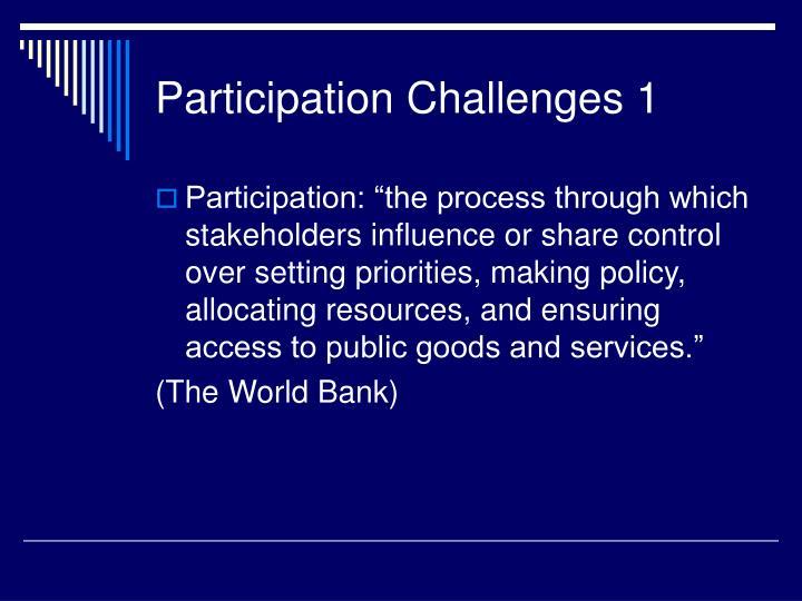 Participation challenges 1