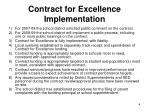 contract for excellence implementation