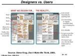 designers vs users