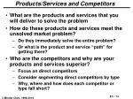 products services and competitors