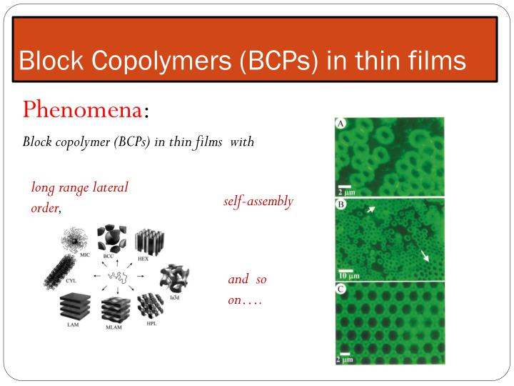 block copolymers bcps in thin films n.
