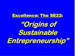 excellence the se22 origins of sustainable entrepreneurship