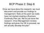 bcp phase 2 step 8
