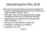 maintaining the plan 819