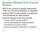 insurance business unit current position
