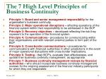 the 7 high level principles of business continuity