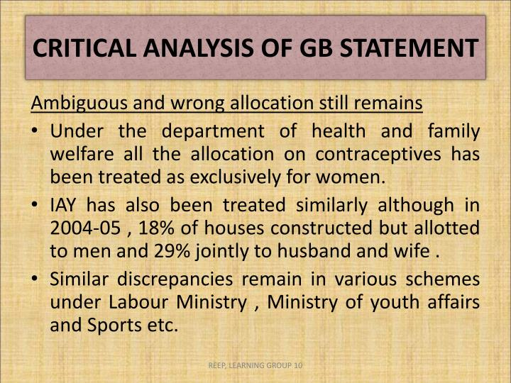 CRITICAL ANALYSIS OF GB STATEMENT