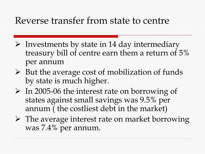Reverse transfer from state to centre