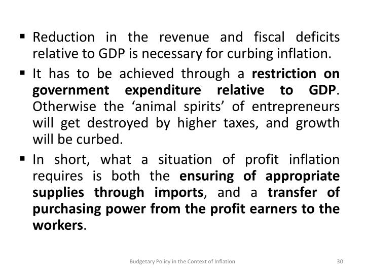 Reduction in the revenue and fiscal deficits relative to GDP is necessary for curbing inflation.