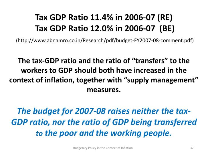 Tax GDP Ratio 11.4% in 2006-07 (RE)