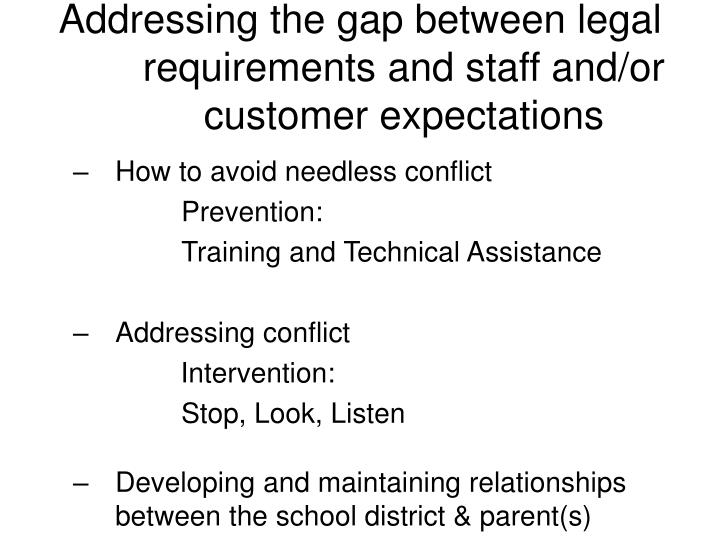 Addressing the gap between legal requirements and staff and/or customer expectations