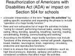 reauthorization of americans with disabilities act ada w impact on section 504 for schools1