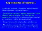 experimental procedures i