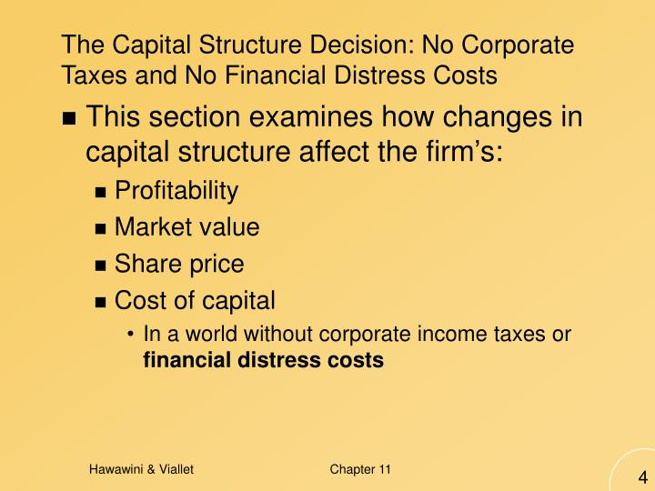 The Capital Structure Decision: No Corporate Taxes and No Financial Distress Costs