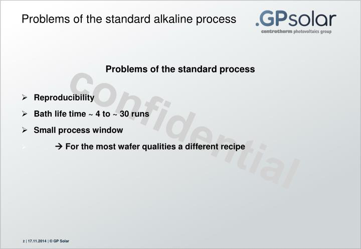 Problems of the standard alkaline process