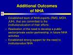 additional outcomes of nha