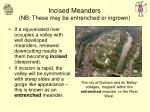 incised meanders nb these may be entrenched or ingrown