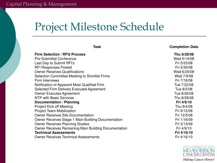 Project Milestone Schedule