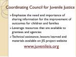 coordinating council for juvenile justice