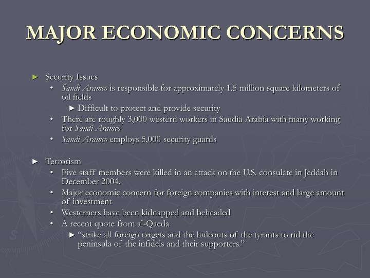 MAJOR ECONOMIC CONCERNS
