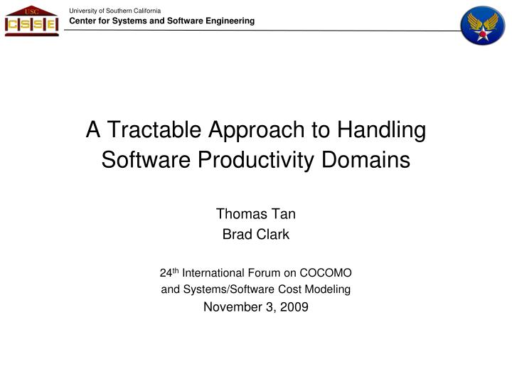 a tractable approach to handling software productivity domains n.