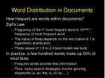 word distribution in documents
