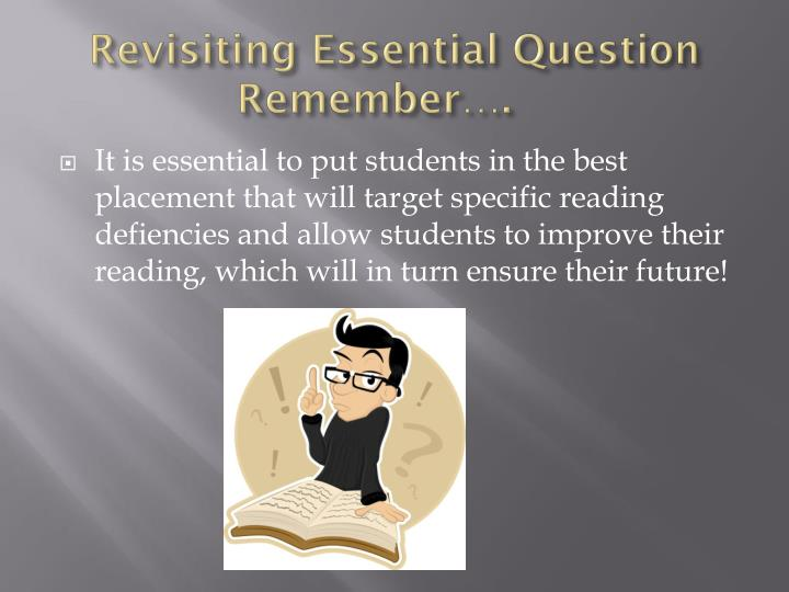 Revisiting Essential Question