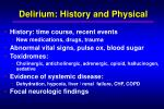 delirium history and physical