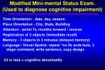 modified mini mental status exam used to diagnose cognitive impairment