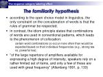 the familiarity hypothesis