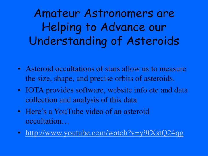 Amateur Astronomers are Helping to Advance our Understanding of Asteroids