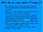 what did we learn about c temple i