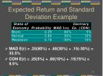 expected return and standard deviation example