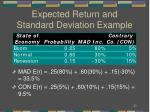 expected return and standard deviation example2