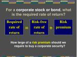 for a corporate stock or bond what is the required rate of return