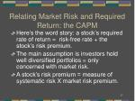 relating market risk and required return the capm