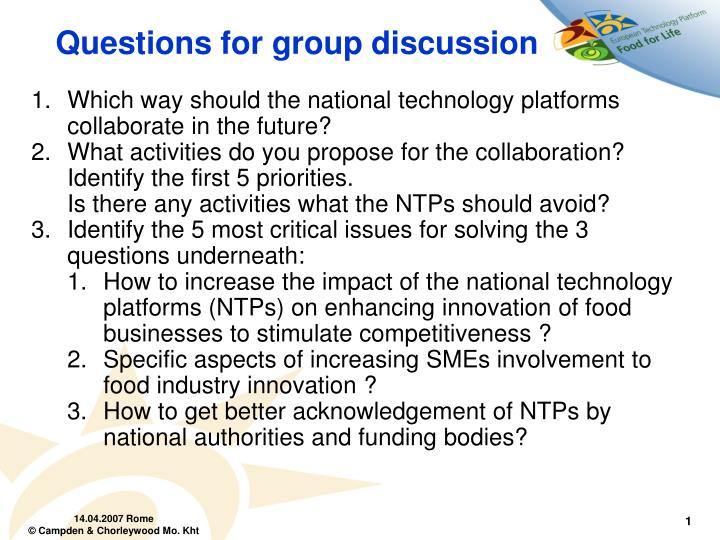 questions for group discussion n.