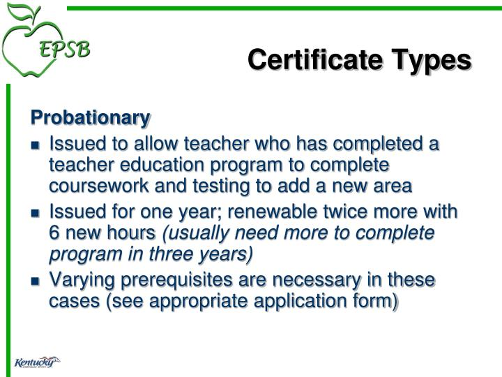 Certificate Types