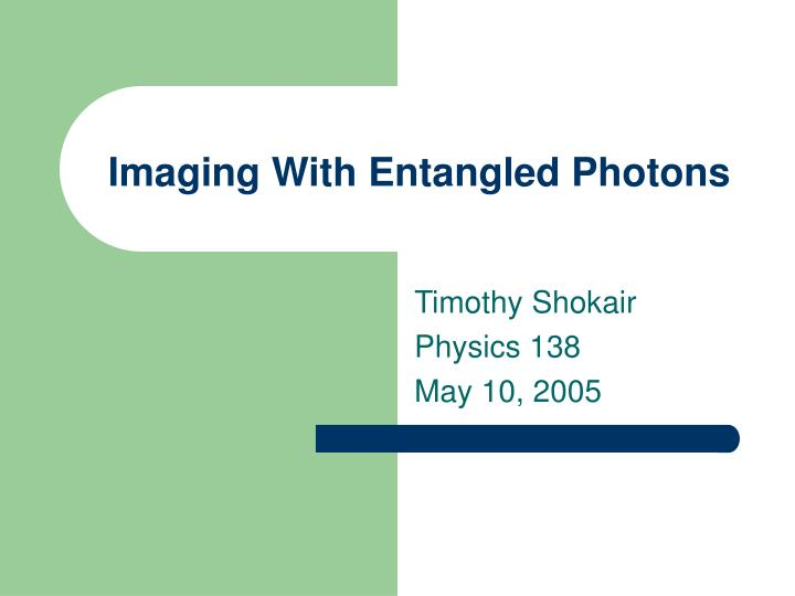 imaging with entangled photons n.