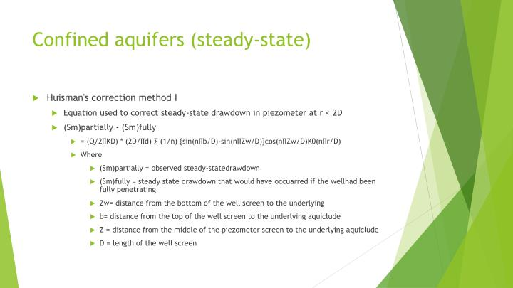 Confined aquifers (steady-state)