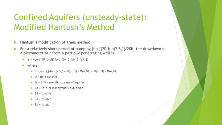 Confined Aquifers (unsteady-state):