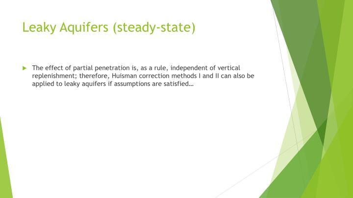 Leaky Aquifers (steady-state)