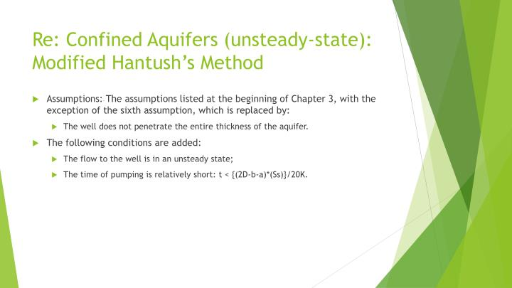 Re: Confined Aquifers (unsteady-state):
