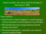 greece usually has a very small percentage of bee losses 10