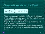 observations about the dual