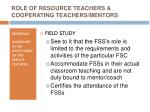 role of resource teachers cooperating teachers mentors