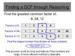 finding a gcf through reasoning