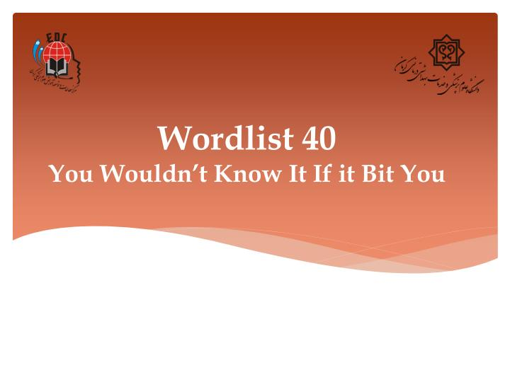 wordlist 40 you wouldn t know it if it bit you n.