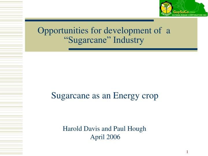 opportunities for development of a sugarcane industry n.